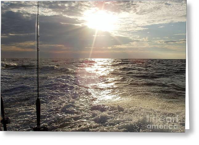 Sunset Over Nj After Fishing Greeting Card by John Telfer