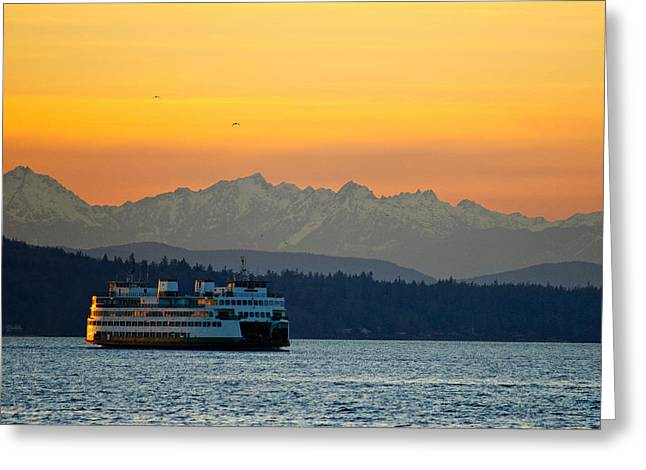 Sunset Over Olympic Mountains Greeting Card