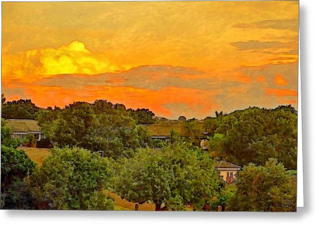 Sunset Over Orchard - Square Greeting Card