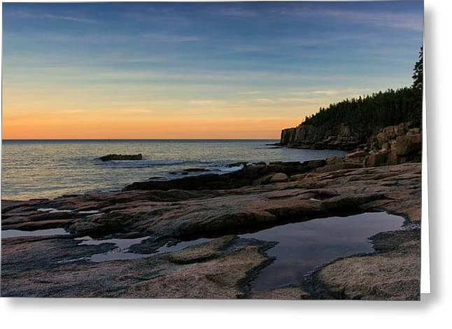 Sunset Over Otter Cliffs Greeting Card by Darylann Leonard Photography