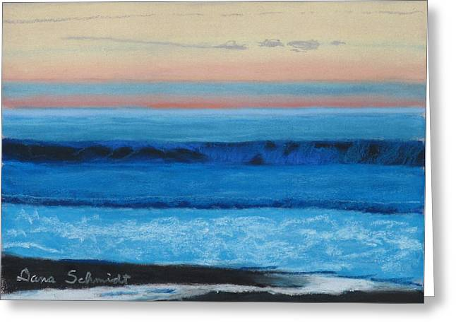 Sunset Over Pacfic Ocean Surf Greeting Card