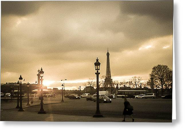 Sunset Over Paris Greeting Card by Steven  Taylor