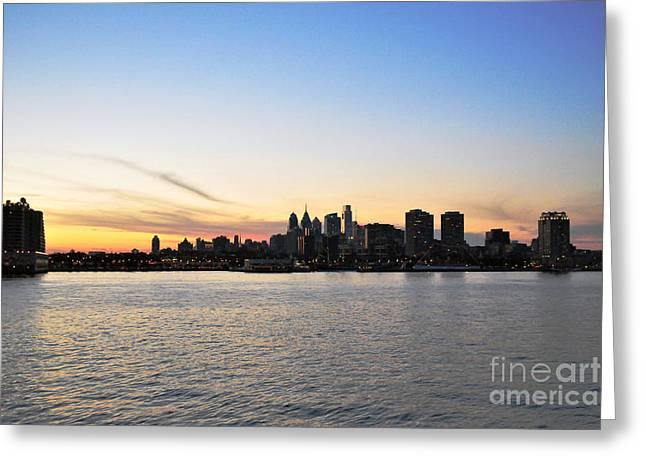 Sunset Over Philadelphia Greeting Card