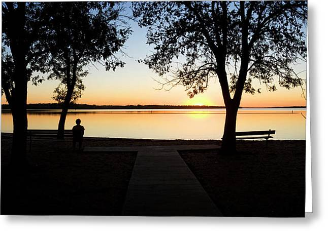 Sunset Over Pomona Reservoir At Pomona Greeting Card by Panoramic Images