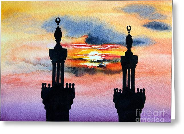 Sunset Over Port Said Greeting Card by Maria Barry