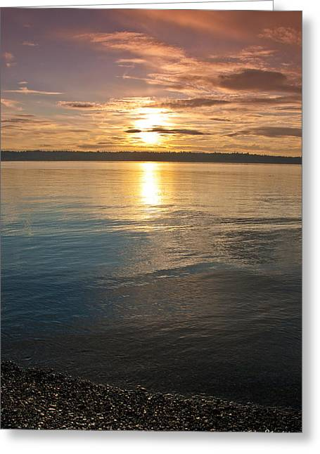 Sunset Over Puget Sound Greeting Card
