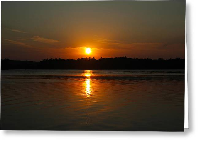 Sunset Over Rice Lake Greeting Card by James Hammen