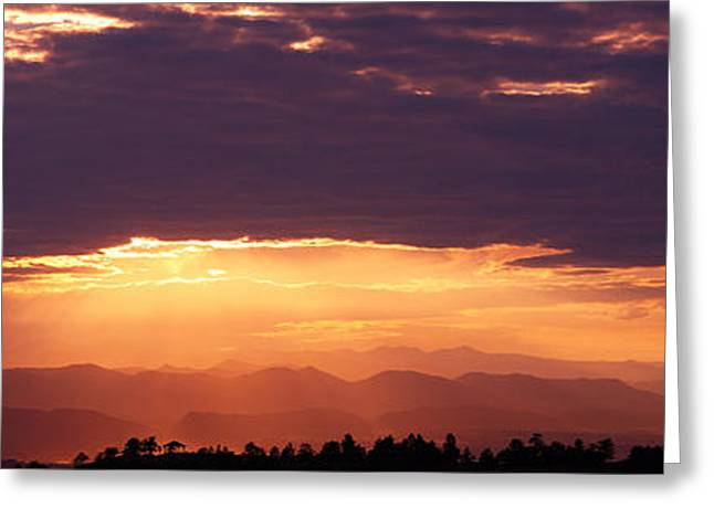 Sunset Over Rocky Mts From Daniels Park Greeting Card by Panoramic Images
