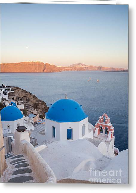 Sunset Over Santorini - Greece Greeting Card by Matteo Colombo