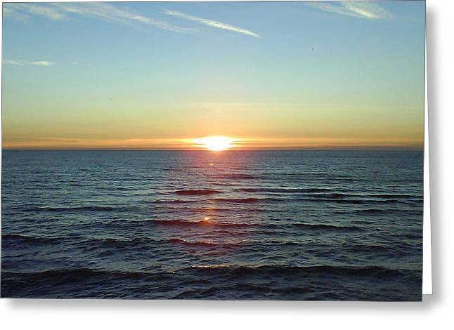 Sunset Over Sea Greeting Card by Gordon Auld