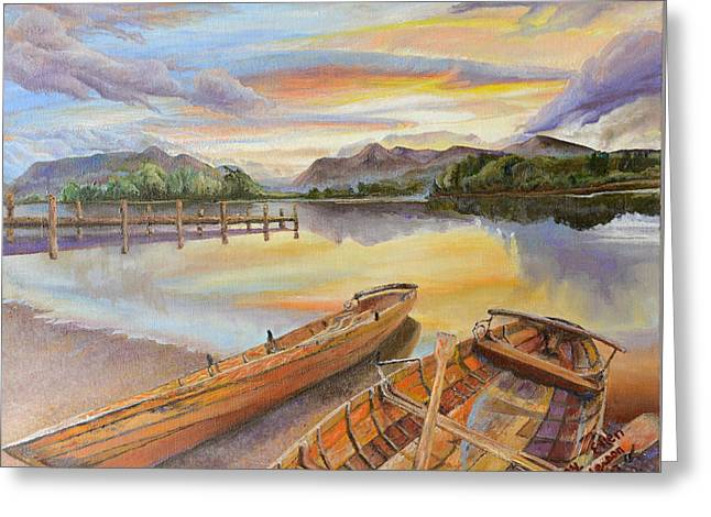 Greeting Card featuring the painting Sunset Over Serenity Lake by Mary Ellen Anderson