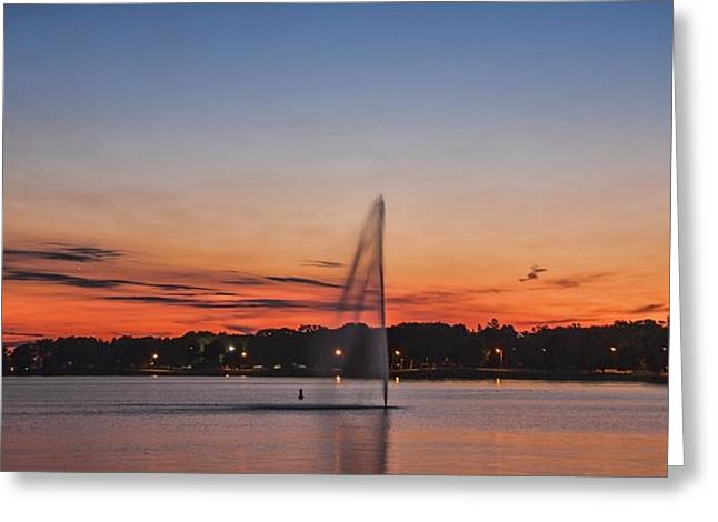 Sunset Over Storm Lake Greeting Card by T C Hoffman