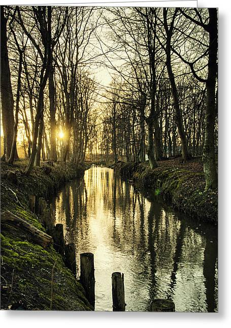 Sunset Over Stream Greeting Card