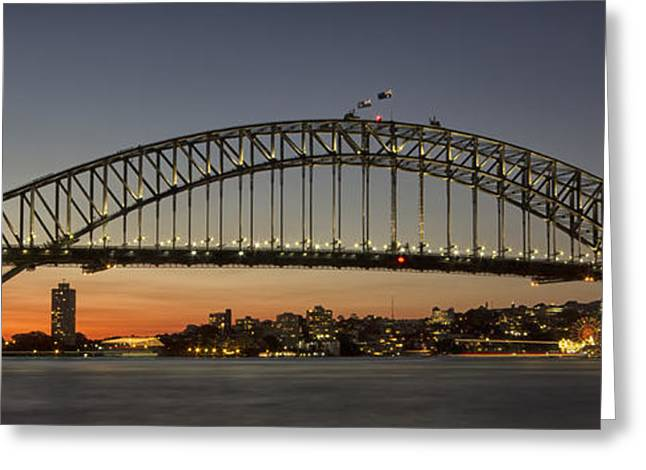Sunset Over Sydney Harbour Bridge Greeting Card by Kevin Hellon