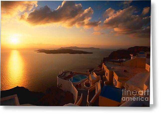Sunset Over The Aegean Sea Greeting Card by Aiolos Greek Collections