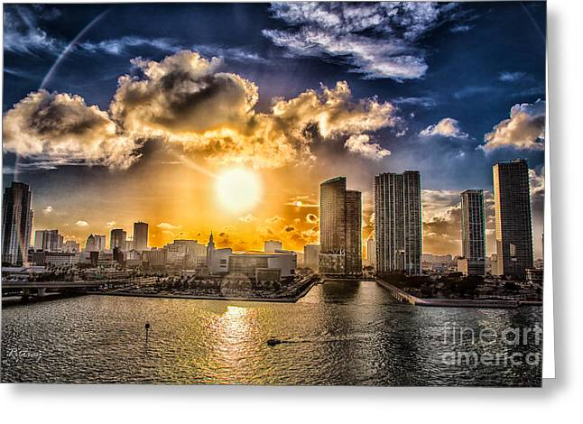 Sunset Over The Arena Hdr Greeting Card by Rene Triay Photography