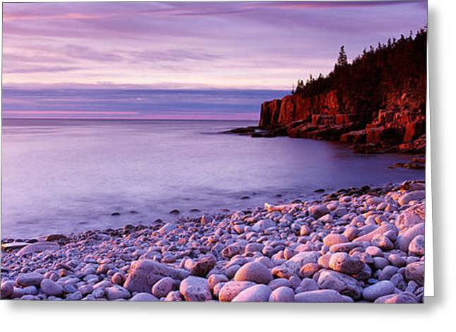 Sunset Over The Coast, Acadia National Greeting Card by Panoramic Images
