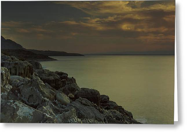 Sunset Over The Dead Sea, Arabah, Jordan Greeting Card by Panoramic Images