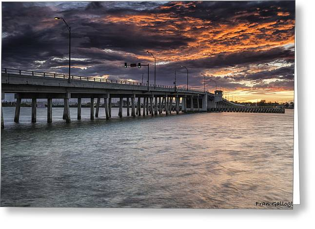 Sunset Over The Drawbridge Greeting Card