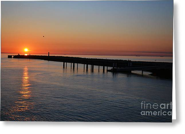 Sunset Over The English Channel Greeting Card