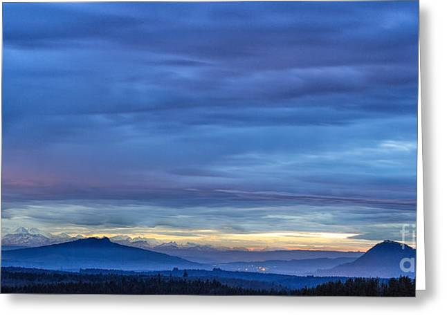 Sunset Over The European Alps Greeting Card by Bernd Laeschke