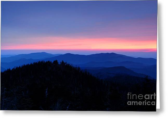 Sunset Over The Great Smoky Mountains Greeting Card