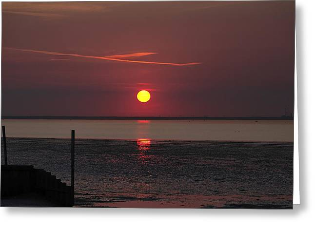 Sunset Over The Hampshire Coast Greeting Card by Rod Johnson