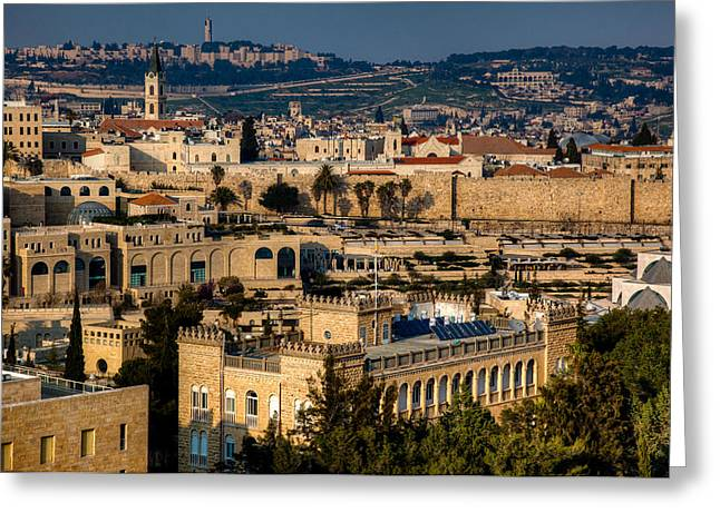 Greeting Card featuring the photograph Sunset Over The Holy City by Uri Baruch