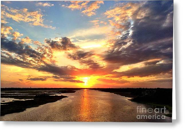 Sunset Over The Icw Greeting Card by Shelia Kempf
