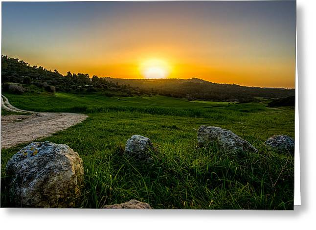 Sunset Over The Judean Hills Greeting Card