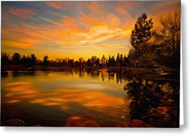 Yorba Greeting Cards - Sunset Over the Lake Greeting Card by Angela A Stanton