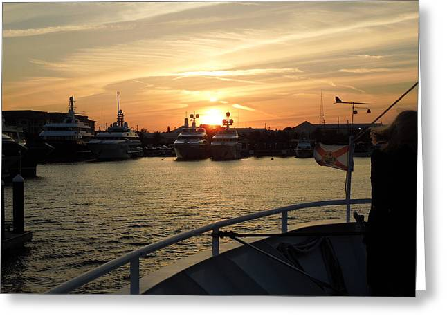 Greeting Card featuring the photograph Sunset Over The Marina by Ron Davidson
