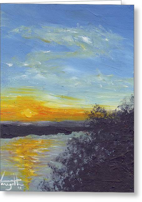 Sunset Over The Mississippi Greeting Card by Monica Veraguth