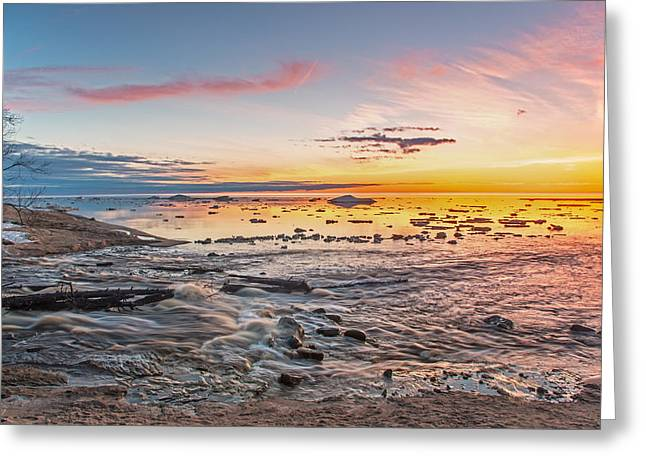 Sunset Over The Mouth Of The Hurricane River Greeting Card