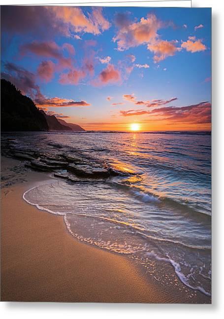 Sunset Over The Na Pali Coast From Ke'e Greeting Card