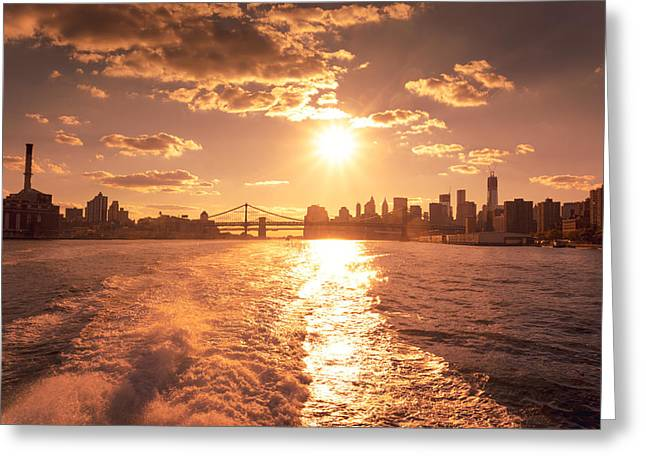 Sunset Over The New York City Skyline Greeting Card by Vivienne Gucwa