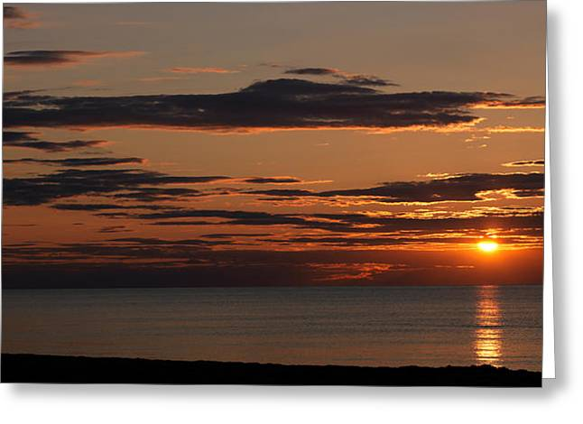 Sunset Over The Ocean, Jetties Beach Greeting Card by Panoramic Images