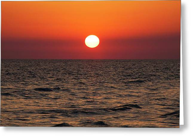Sunset Over The Ocean Greeting Card by Jim Edds