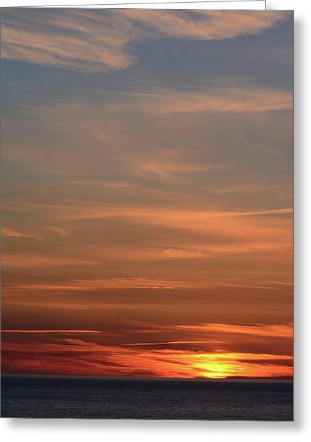 Sunset Over The Ocean Near Petit Etang Greeting Card