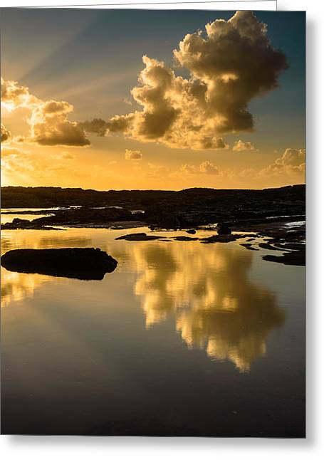 Sunset Over The Ocean V Greeting Card by Marco Oliveira
