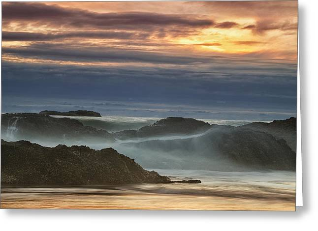 Sunset Over The Ocean Waves Greeting Card by Andrew Soundarajan