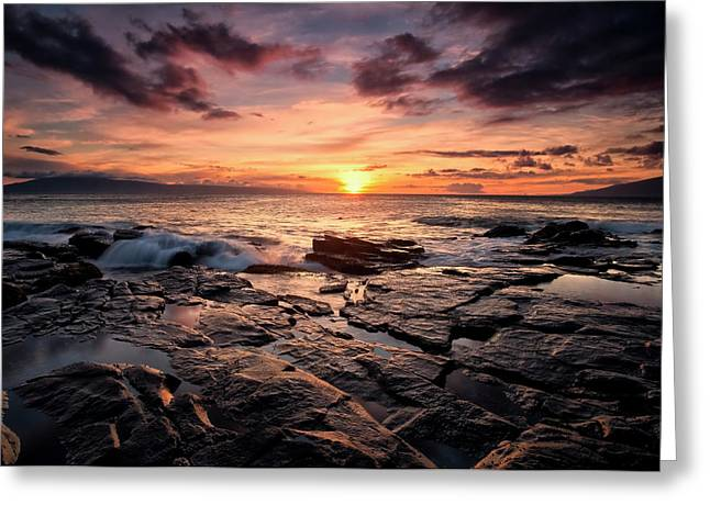Sunset Over The Ocean With Wet Black Greeting Card by Scott Mead