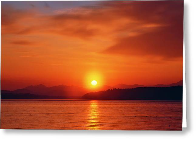 Sunset Over The Olympic Mountains Greeting Card by Jaynes Gallery