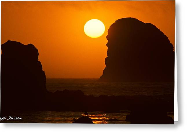 Greeting Card featuring the photograph Sunset Over The Pacific Ocean With Rock Stacks by Jeff Goulden