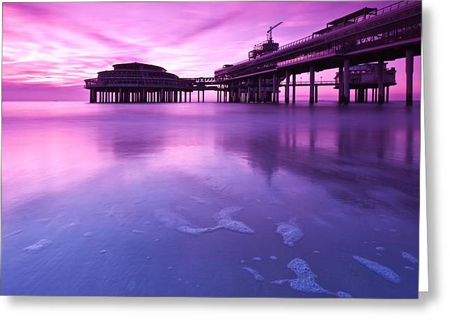 Sunset Over The Pier Greeting Card by Mihai Andritoiu
