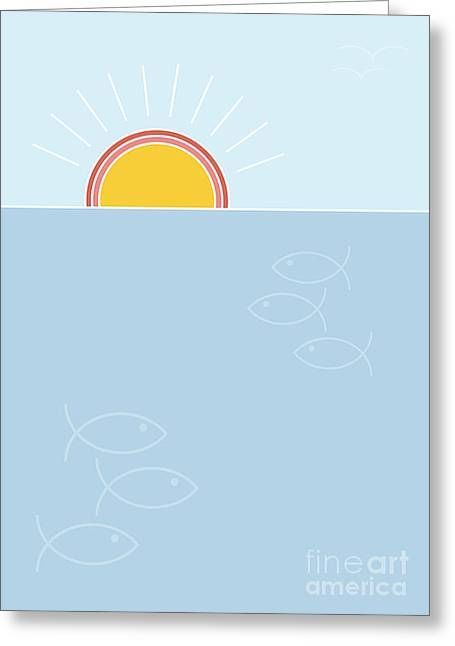 Sunset Over The Sea Background, Flat Greeting Card