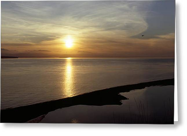 Sunset Over The Sea, Ebeys Landing Greeting Card by Panoramic Images