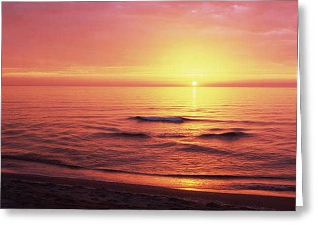 Sunset Over The Sea, Venice Beach Greeting Card by Panoramic Images