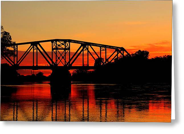 Greeting Card featuring the photograph Sunset Over The Taylor Bridge by Larry Trupp