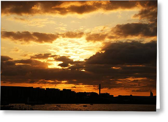Sunset Over The Thames From Greenwich Greeting Card